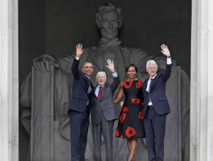 Obama, Carter y Clinton, junto a Michelle Obama.